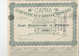 PART BENEFICIAIRE  - CAFRA - COMPAGNIE DE L'AFRIQUE FRANCAISE - POINTE NOIRE - 1924 - Africa