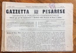 GAZZETTA PESARESE GIORNALE POLITICO COMMERCIALE PESARO  Del 2/3/1875 Con Cronache Locali All'interno - Before 1900