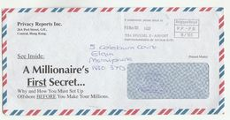 1997 HONG KONG Advert COVER With BELGIUM RE-MAIL BRUSSELS AIRPORT PP PB Meter Stamp Pmk To GB China Aviation - Hong Kong (...-1997)