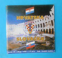 CROATIA : SLOVAKIA - 1998. Football Match Programme Soccer Fussball Programm Programma Programa Kroatien Croatie Croazia - Match Tickets