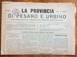 LA PROVINCIA DI PESARO E URBINO  GIORNALE POLITICO COMMERCIALE PESARO  Del 25/7/1876  Con Cronache Locali - Before 1900