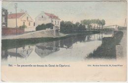 """28325g  PASSERELLE - CANAL DE CHARLEROI - """"EPONGES EN GROS -  KLIMIS FRERES"""" - Hal - 1911 - Colorisé - Halle"""