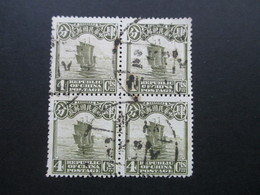 China Ca. 1923 Freimarken Dschunke 4er Block! Gestempelt. 4 Cts. - China