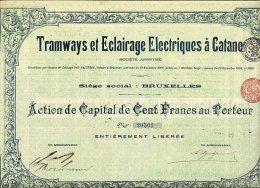 TRAMWAYS ET ECLAIRAGE ELECTRIQUES A CATANE - Railway & Tramway