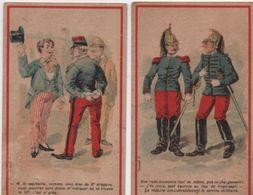2 Chromos Humoristiques/Militaria/Au Chat Botté/Fabrique De Chaussures/Chenabre/Rue Mayet/Paris/Vers1880-90    IMA342 - Other