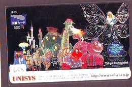 Carte Prépayée Japon * DISNEY (6153) Disneyland UNISYS - Electrical Parade - PAPILLON DINOSAURE CHAT * JAPAN TOSHO CARD - Disney
