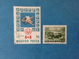 UNGHERIA MAGYAR POSTA FRANCOBOLLI USATI TWO STAMPS USED - GIOCHI OLIMPICI MONTREAL 1976 NUOTO 1FT + AUTOBUS 1,40 FT - Hungary