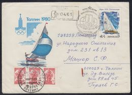 RUSSIA 1980 COVER Used MOSCOW OLYMPIC GAMES XXII JEUX OLYMPIQUE SAILING Philatelic Exhibition TALLINN Estonia Mailed - Summer 1980: Moscow