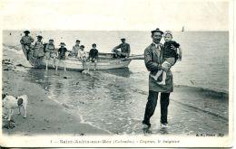 N°3808 A -cpa Saint Aubin Sur Mer Capron, Le Baigneur- - Saint Aubin