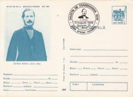 WRITERS, GEORGE BARITIU, 1848 REVOLUTION, PC STATIONERY, ENTIER POSTAL, 1988, ROMANIA - Schrijvers