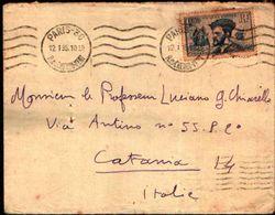 87058) Francia  Lettera Con 1f. Jacques Cartier Da Parigi A Catania  Il 12/1/1935 - Francia