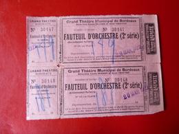 GRAND THEATRE DE BORDEAUX- FAUTEUILS D'ORCHESTRE - Mars 1922 - Tickets - Vouchers