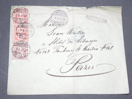 """SUISSE - Griffe """" Rorschach """" Sur Enveloppe Pour Paris En 1892 - L 13393 - 1882-1906 Armarios, Helvetia De Pie & UPU"""