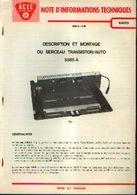 « ACEC CHARLEROI – Notes D'informations Techniques Radio – Description Et Montage Du Berceau Transistor/auto 5585A » - Littérature & Schémas