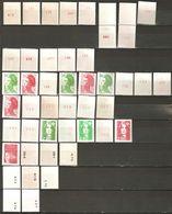 France Lot De 46 TP Timbres Neufs **  Roulette Avec Et Sans N° . Liste N° Yvert   Petit Prix - Stamps