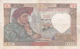BILLET De 50 Francs JACQUES COEUR Du 13-6-1940.D (2 Scan) L2 - 1871-1952 Circulated During XXth