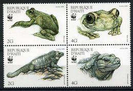 Haiti 1999 WWF REPTILES AMPHIBIANS Iguana  Tree Frog 4v  MNH** - W.W.F.