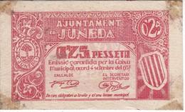 BILLETE DE 25 CENTIMOS DEL AJUNTAMENT DE JUNEDA DEL AÑO 1937  (BANKNOTE) - Sin Clasificación