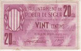 BILLETE DE 20 CENTIMOS DEL AJUNTAMENT DE LA POBLA DE SEGUR DEL AÑO 1937   (BANKNOTE) - [ 2] 1931-1936 : Repubblica
