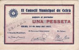 BILLETE DE 1 PESETA DEL CONSELL MUNICIPAL DE CELRA DEL AÑO 1937   (BANKNOTE) - [ 2] 1931-1936 : Repubblica