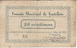 BILLETE DE 25 CENTIMOS DEL CONSEJO MUNICIPAL DE CASTELLOTE DEL AÑO 1937  (BANKNOTE) - Sin Clasificación