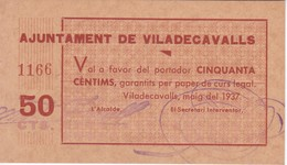 BILLETE DE 50 CENTIMOS DEL AJUNTAMENT DE VILADECAVALLS DEL AÑO 1937 SIN CIRCULAR - UNCIRCULATED  (BANKNOTE) - [ 2] 1931-1936 : Repubblica