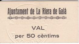 BILLETE DE 50 CENTIMOS DEL AJUNTAMENT DE LA RIERA DE GAIA DEL AÑO 1937 SIN CIRCULAR  - UNCIRCULATED  (BANKNOTE) - Sin Clasificación