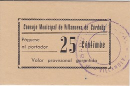 BILLETE DE 25 CENTIMOS DEL CONSEJO MUNICIPAL DE VILLANUEVA DE CORDOBA DEL AÑO 1937 SIN CIRCULAR-UNCIRCULATED  (BANKNOTE) - [ 2] 1931-1936 : Repubblica