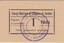 BILLETE DE 1 PESETA DEL CONSEJO MUNICIPAL DE VILLANUEVA DE CORDOBA DEL AÑO 1937 SIN CIRCULAR - UNCIRCULATED  (BANKNOTE) - Sin Clasificación