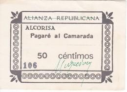 BILLETE DE 50 CENTIMOS DE LA ALIANZA REPUBLICANA DE ALCORISA (TERUEL)   (BANKNOTE) - [ 2] 1931-1936 : Repubblica