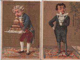 2 Chromos Anciens à Fond Doré/ Habillements/ Serviteurs/ A L'Artisan/ Rue Du Terrier / VINCENNES/Vers 1890   IMA352 - Other