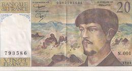 20 FRS DEBUSSY  N 001 1989 - 1962-1997 ''Francs''