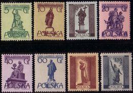 1955, Poland, Mi 907 - 914, Monuments Of Warsaw. Mickiewicz, Kopernik, Kiliński, M. Curie - Nobel. King Zygmunt W  MNH** - 1944-.... République