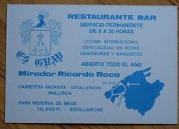 Espagne - Mallorca - Restaurante Bar Es Grau - Mirador Ricardo Roca - Estallenchs - (n°9983) - Visiting Cards