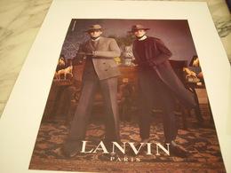 PUBLICITE AFFICHE VETEMENT LANVIN - Vintage Clothes & Linen