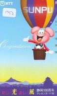 Telecarte  JAPON * SPORT * MONTGOLFIERE (1452) Hot Air Balloon * Ballon * Aerostato  * TELEFONKARTE * PHONECARD JAPAN * - Sport