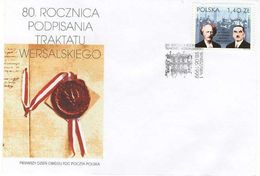 POLAND FDC 1999 80TH ANNIV 1919 WW1 TREATY OF PEACE VERSAILLES PADAREWSKI DMOWSKI SIGNATORIES - FDC