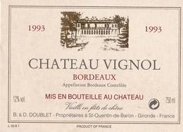 ETIQUETTE DE VIN BORDEAUX ROUGE 1993 - Bordeaux