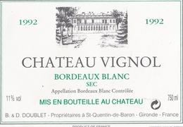 ETIQUETTE DE VIN BORDEAUX BLANC 1992 - Bordeaux