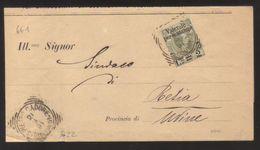 7723- Da S.Pietro Cadore A Resia 21/3/1891 Sassone 50 Su Piego - 1878-00 Umberto I