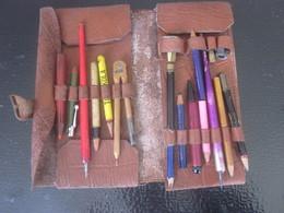 Vintage School Kit Pencil Case-leather Brown Cuir-Trousse écolier+2 Porte-plume+2 Taille-crayons+porte Crayon Publicité - Other