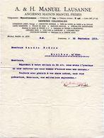 Manuel Lausanne Denrées Coloniales à Gaudin Frères Evolène 1912 - Suisse