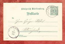 P 37 Ziffer, Sulzbach Nach Murrhardt, AK-Stempel 1895 (47024) - Wurttemberg