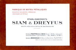 Carton Publicitaire 12 X 8  BORDEAUX MONTREUIL Ets  Siam&Dreyfus  Boites Metalliques  Superbe   Très Bon état - Visiting Cards