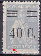 PORTUGAL 1928- 90C Surcharged Ceres- N/C Cliche. MH No Faults. - Varietà & Curiosità