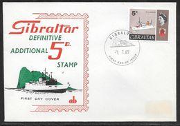 Gibraltar - 1969 5d Ship Definitive First Day Cover - Gibraltar