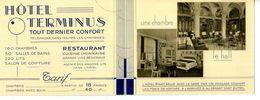 Carton Publicitaire 11.5 X 9 En 2 Volets LYON-Perrache  Hôtel Terminus  Beau Document       Très Bon état - Visiting Cards