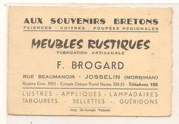 Josselin -  Aux Souvenirs  Bretons - Meubles Rustique - Brogard . F -  Carte De Visite - Publicitaire - CPA° - Josselin