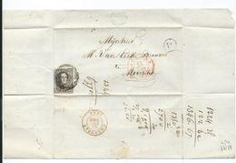 TB: Lac Du 24 Dec 1854 De Roulers (roeselare) Vers Courtray (courtrai) - Boite Rurale W - ROOZEBEKE (westrozebeke ?) - 1851-1857 Medallones (6/8)