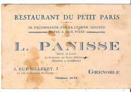 Cdv  Restaurant Du Petit Paris  Grenoble - Cartes De Visite